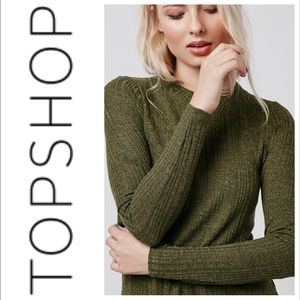 Topshop 💚 Khaki Green Flippy Rib Tunic Dress